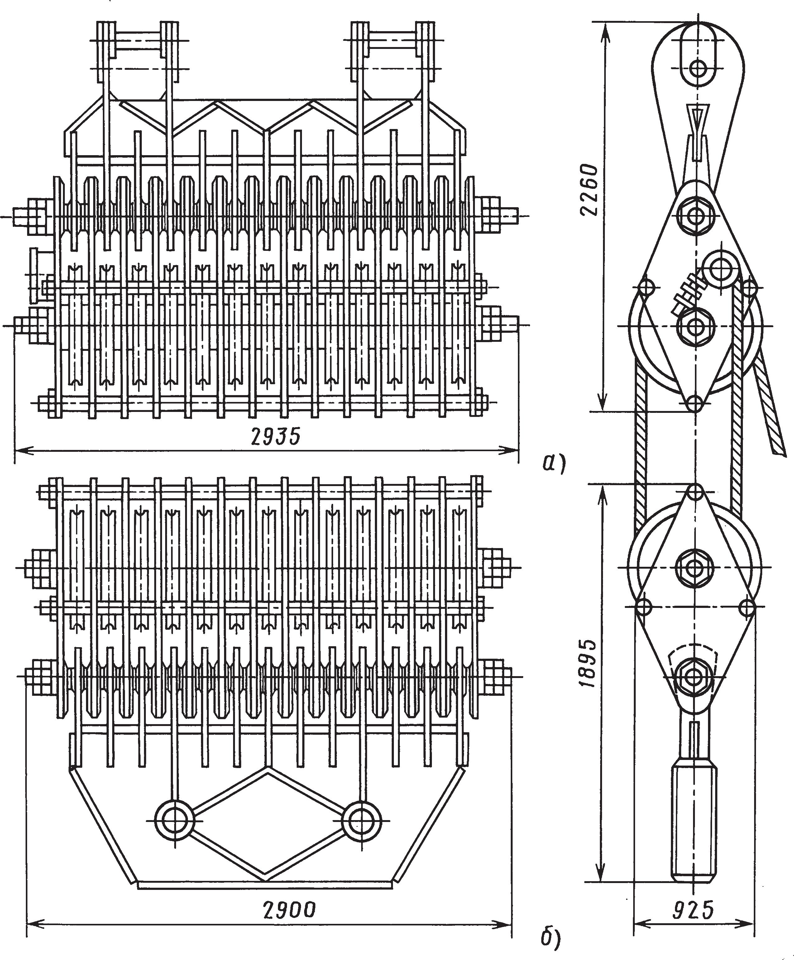 Неподвижная и подвижная блочные обоймы ОБМ-630 с тяговой силой 6300 кН