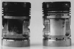 Поршни дизеля с наддувом после равного времени испытания масла с недостаточными и вполне удовлетворительными моющедиспергирующими свойствами