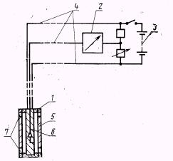 схема прибора для определения удельной электрической проводимости авиационных керосинов