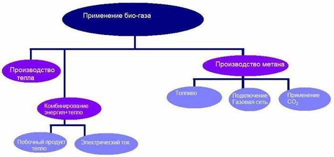 Схема применения биогаза