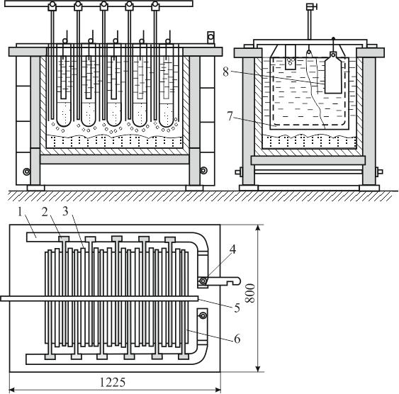 Ванна для электролиза серебра с вертикальными электродами