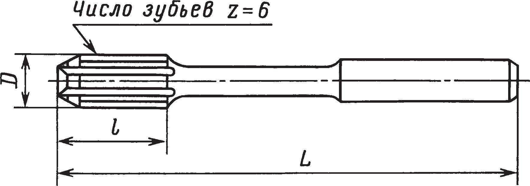 Машинные цельные развертки с цилиндрическим хвостовиком — тип 1 (ГОСТ 1672–80)