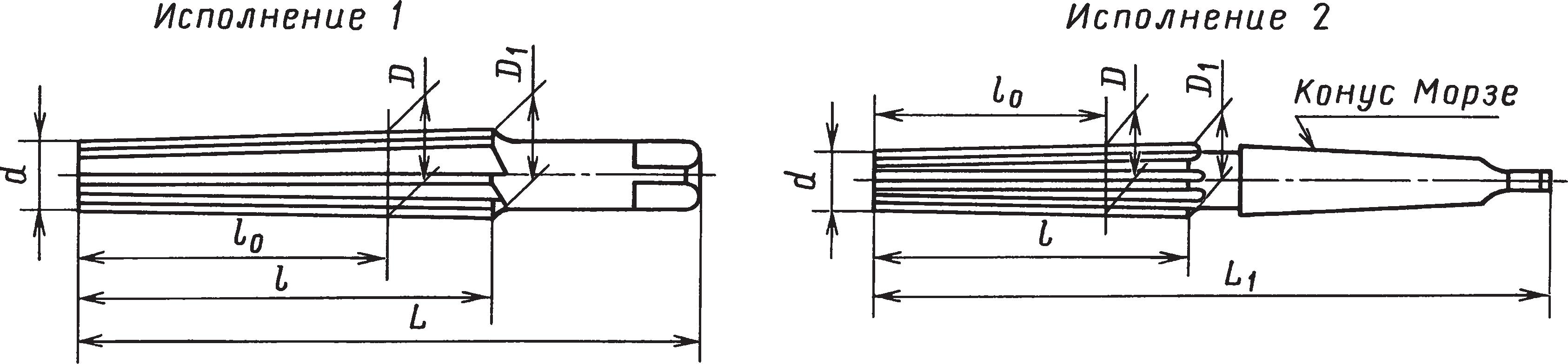 Конические развертки с цилиндрическими и коническими хвостовиками под конусы Морзе