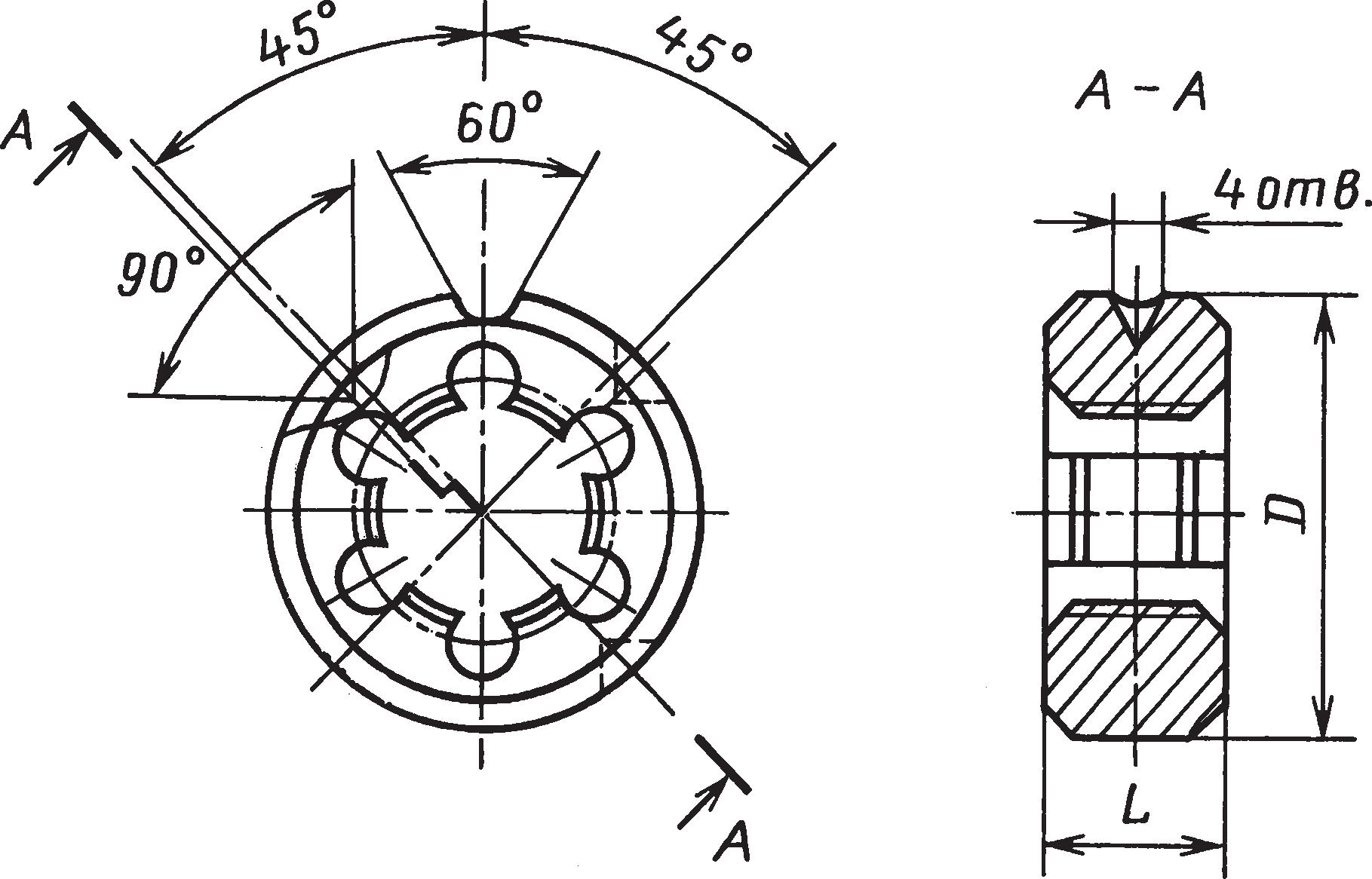 Круглые плашки (ГОСТ 9740–71) для нарезания трубной цилиндрической резьбы 1/16...2 (ГОСТ 6357–81)