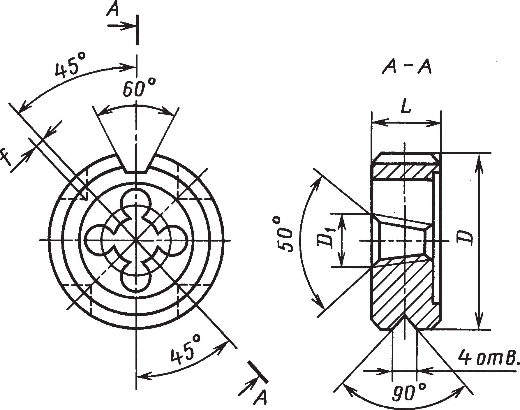 Круглые плашки (ГОСТ 6228–80Е) для нарезания конической резьбыс углом профиля 60 (ГОСТ 6111–52) и трубной конической резьбы (ГОСТ 6211–81)
