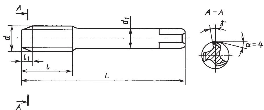 Короткие метчики с шейкой для метрической резьбы (крупные шаги) (ГОСТ 3266–81)