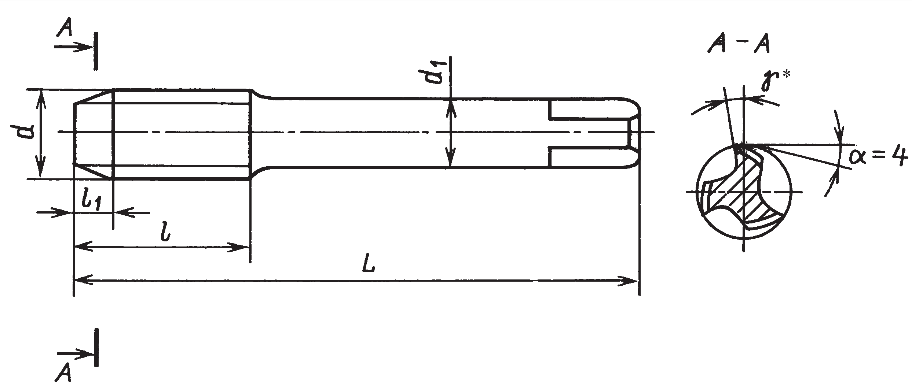 Короткие метчики с проходным хвостовиком для метрической резьбы (крупные шаги) (ГОСТ 3266–81)