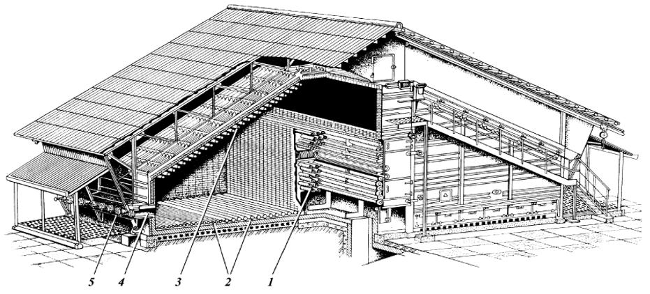 Схема двухскатной печи с наклонным сводом