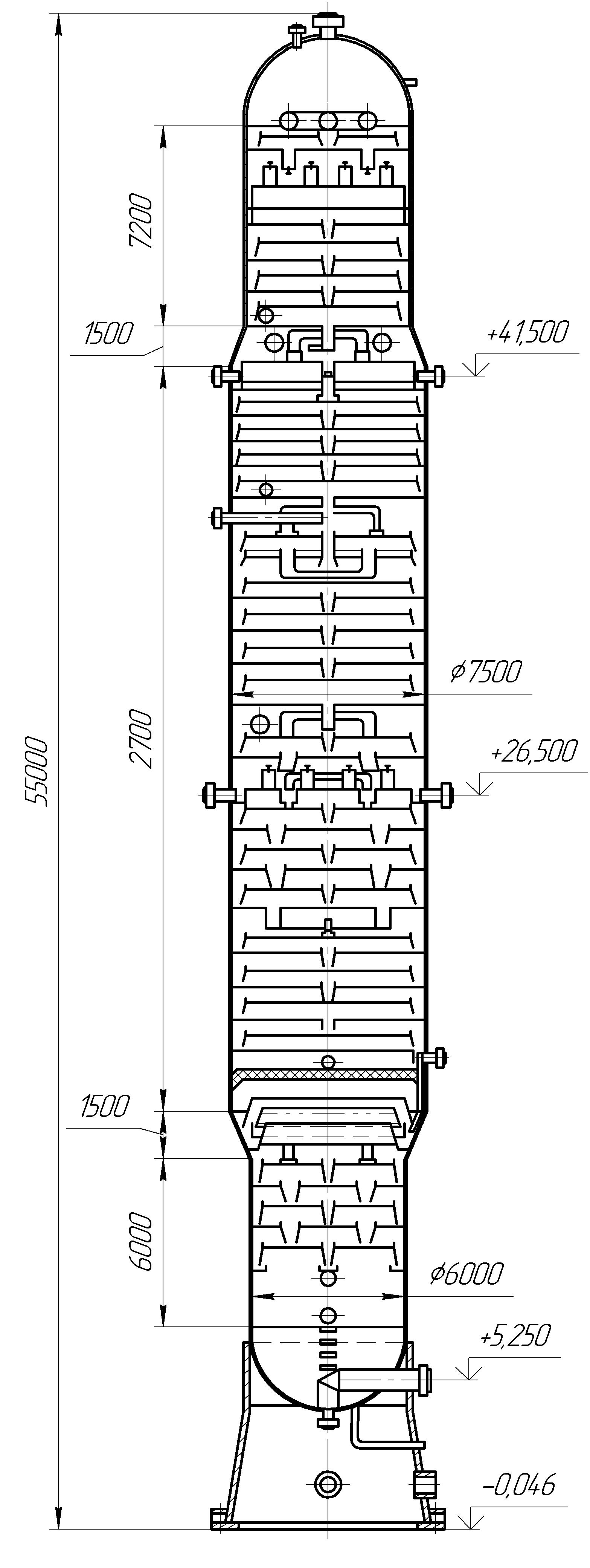 Атмосферная ректификационная колонна переменного диаметра