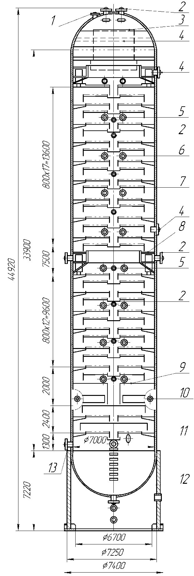 Атмосферная ректификационная колонна