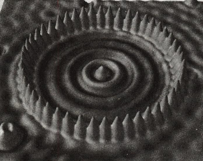 """""""Атомеый загон"""" для электрона, построенный из 48-ми атомов железа методом поатомного переноса."""