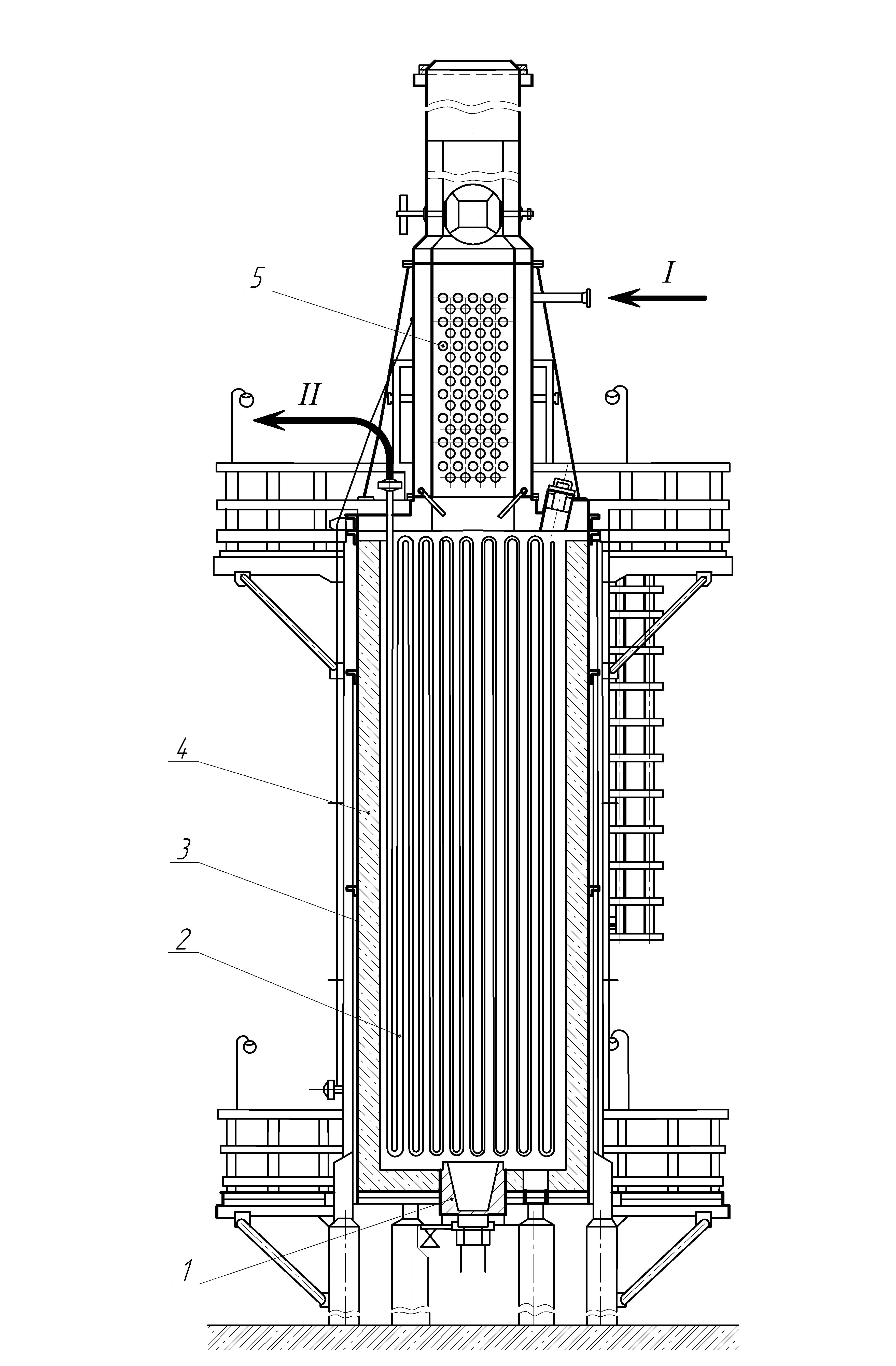 Конструкция цилиндрической трубчатой печи с верхним расположением конвекционной камеры