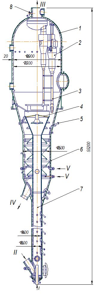 Конструкция реактора с пылевидным катализатором