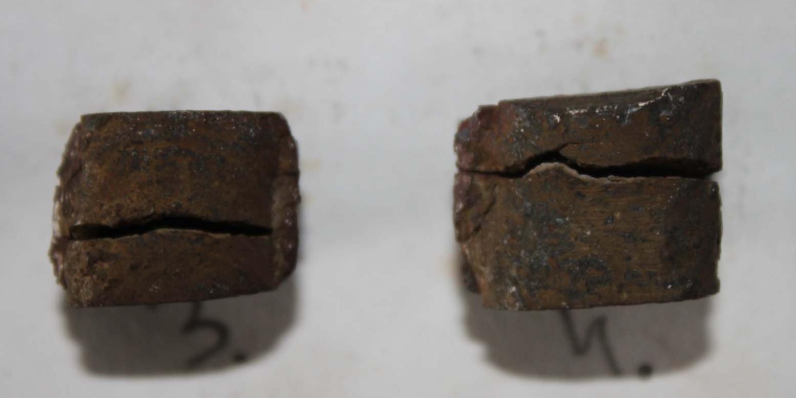 образцы наплавленного металла после испытаний на термостойкость в водяных теплосменах