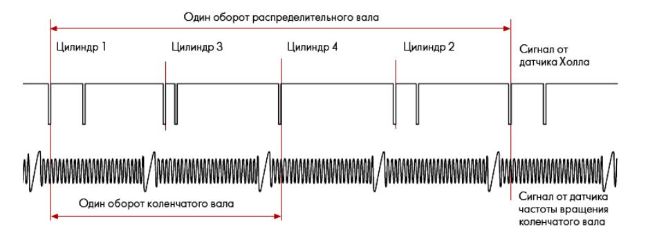 Поступление сигналов от датчика Холла и от датчика частоты вращения двигателя