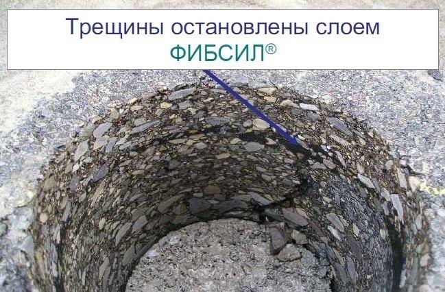 прерывание трещины в лунке керна, взятого из покрытия, поверх которого нанесен слой Фиб Сила