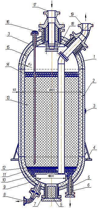 Реактор риформинга аксиального типа с «холодным» корпусом