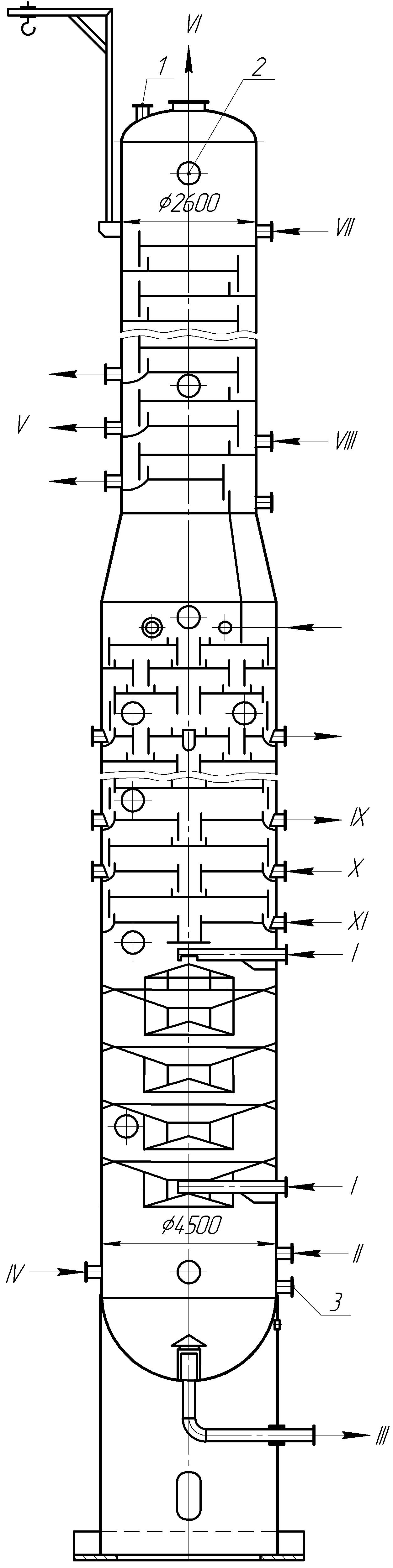 Ректификационная колонна установки замедленного коксования