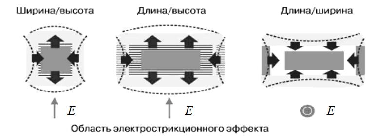 Схема проявления электрострикции