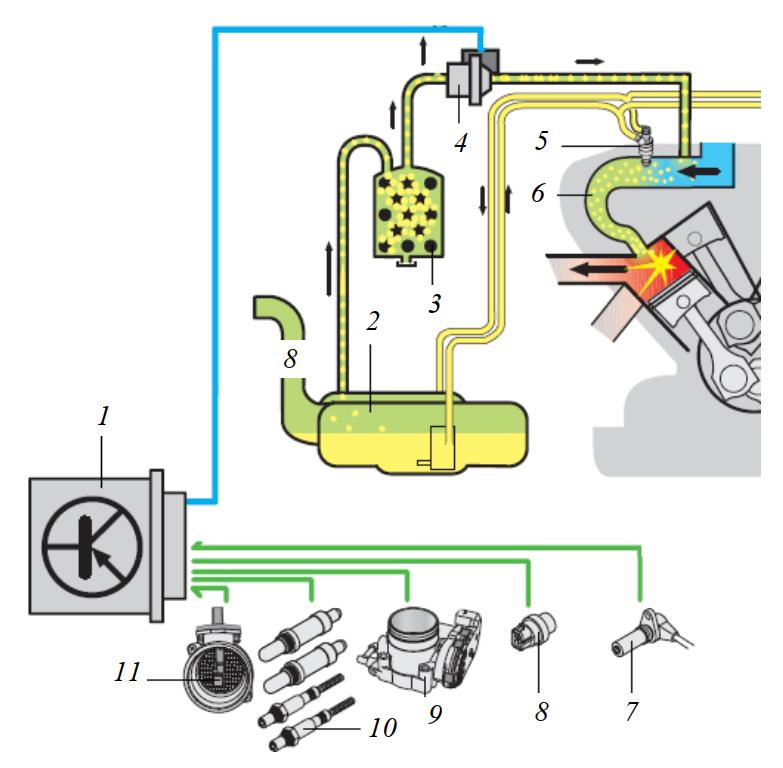 Схема системы улавливания топливных испарений