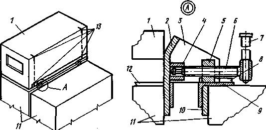 Схема установки монтажных упорных фиксаторов