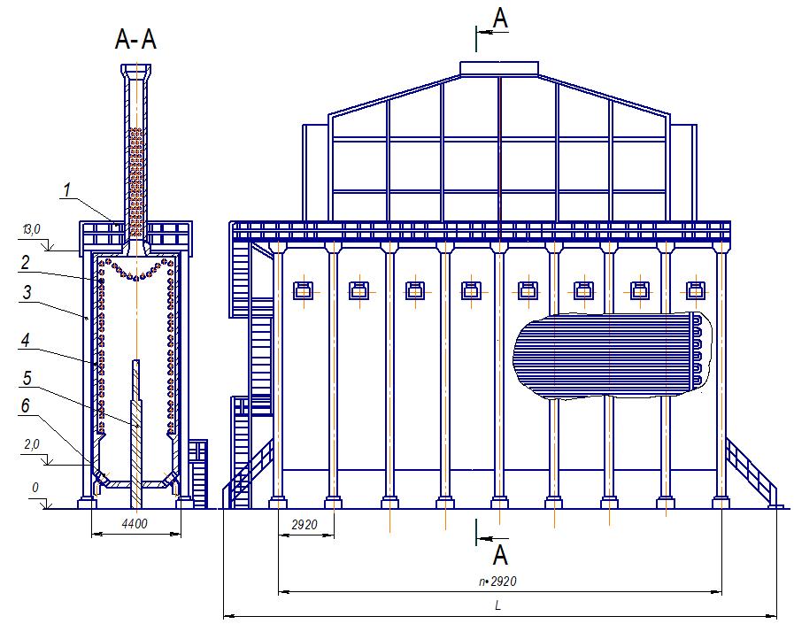 Схема вертикальной трубчатой печи с настильным сжиганием топлива