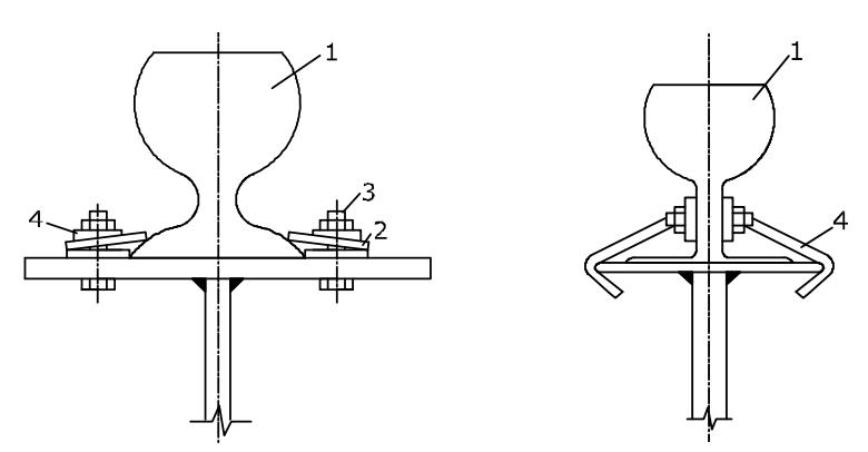 Схемы крепления подкрановых рельсов к балкам