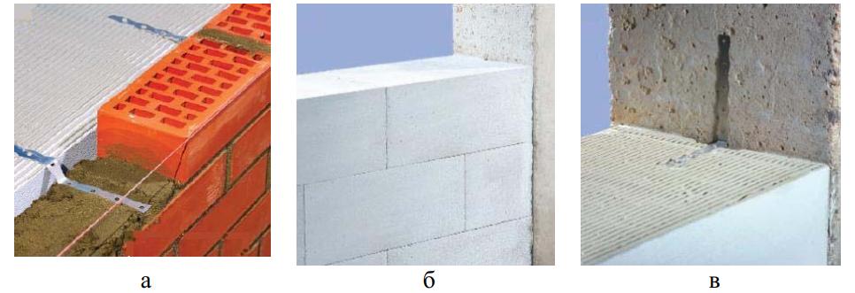 Соединение кладки из газобетона с другими материалами