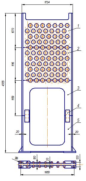 Составная трубная решетка (промежуточная) конвекционной камеры