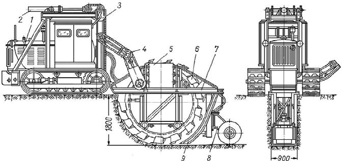 Траншейный роторный экскаватор