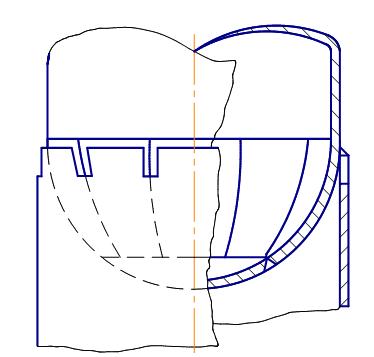 Узел соединения опорной части колонны с днищем, имеющем меридиональные швы