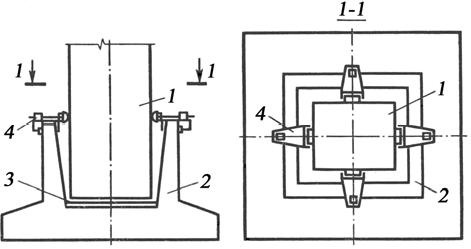 Временное крепление колонны в стакане фундамента с помощью раздельного кондуктора