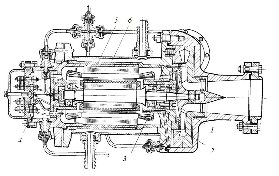 Бессальниковый одноступенчатый малорасходный центробежный компрессор