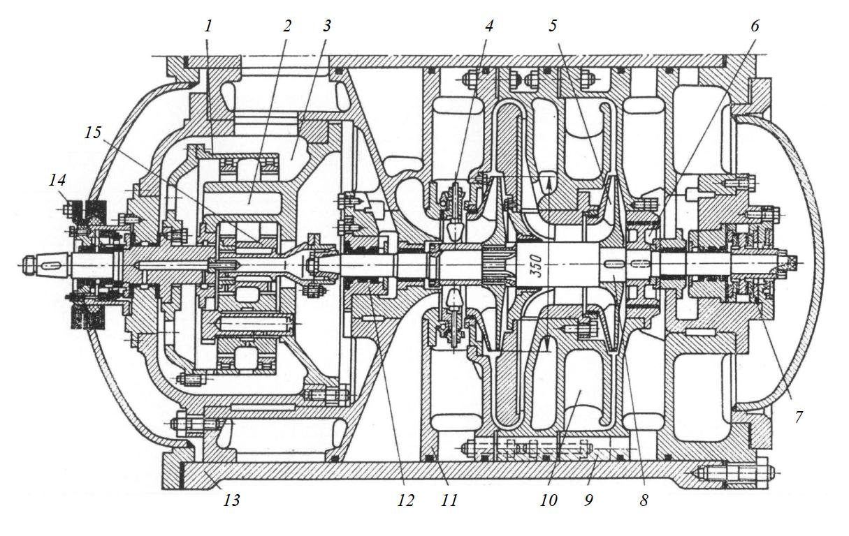 Хладоновый центробежный компрессор со встроенным мультипликатором