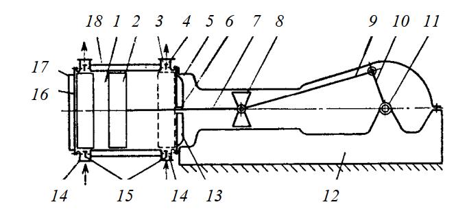 Схема горизонтального одноступенчатого компрессора