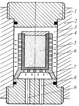 Схема установки для гидростатического прессования