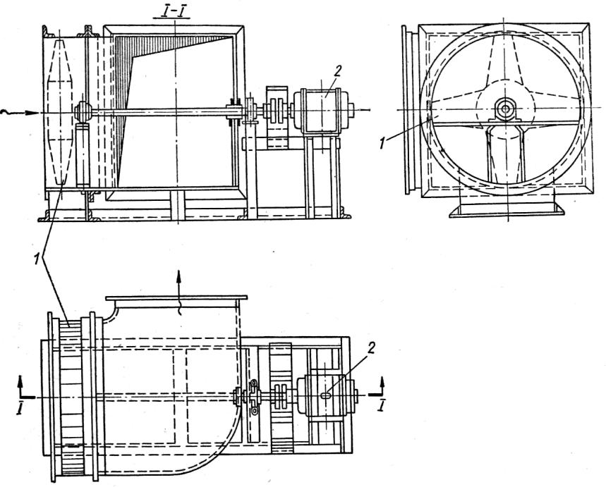 Схема установки осевого вентилятора