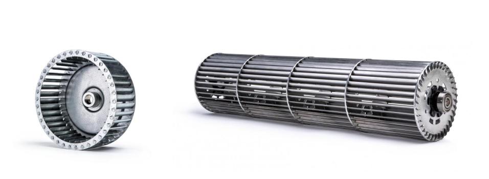 Схемы рабочих колес диаметрального вентилятора