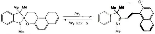 Схема фотохимического переключения спиропирана