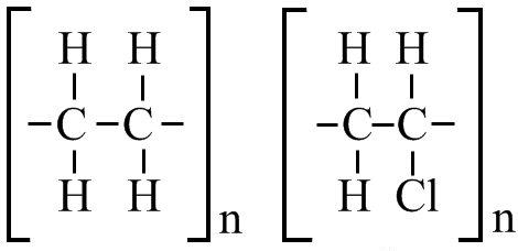 Строение звена неполярного и полярного полимеров