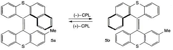 Схема переключения молекулы между двумя энантиомерными состояниями