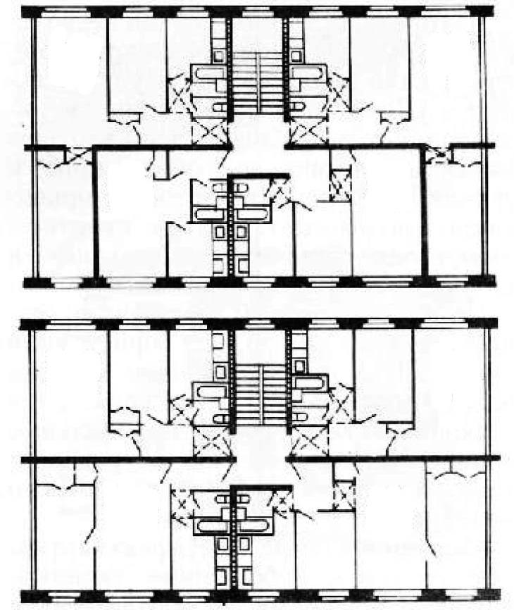 Четырехквартирные секции (широтная и меридиальная)