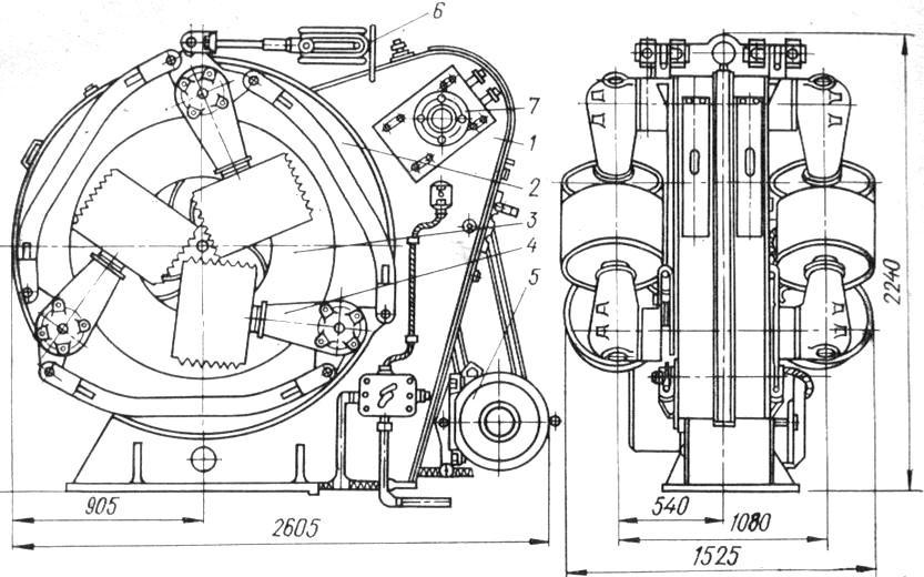 Конструкция окорочной головки с механизмом подачи станка ОК-66М