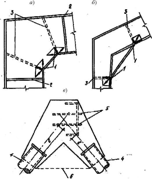Неправильная конструкция узлов примыкания элементов стальных конструкций, приведших к авариям