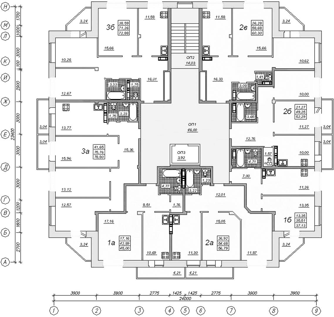 План типового этажа односекционного («точечного») жилого дома повышенной этажности (дома башенного типа)