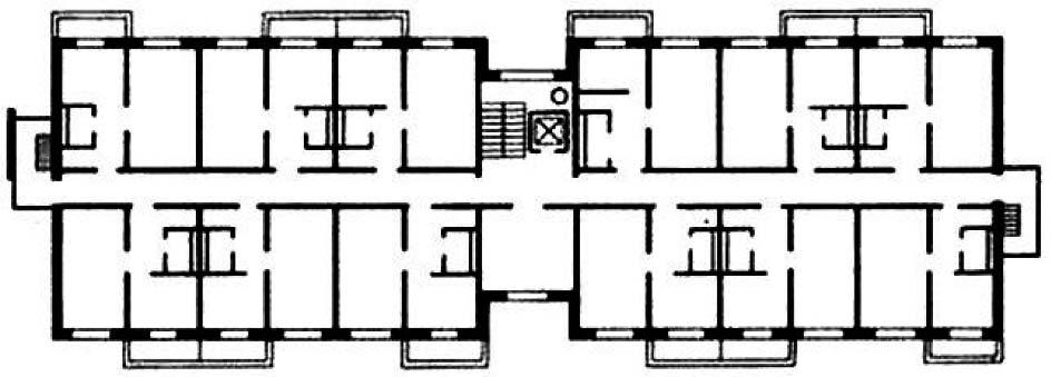 Планировочная структура жилого дома коридорного типа