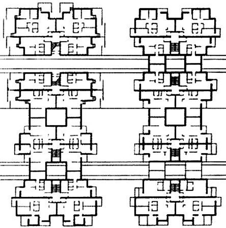 Пример дома с высокой плотностью застройки с лестницами, освещаемыми через внутренние дворики