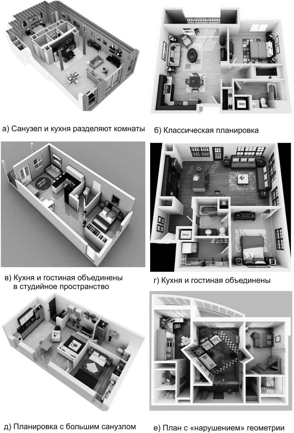 Примеры планировочных решений 2-комнатных квартир