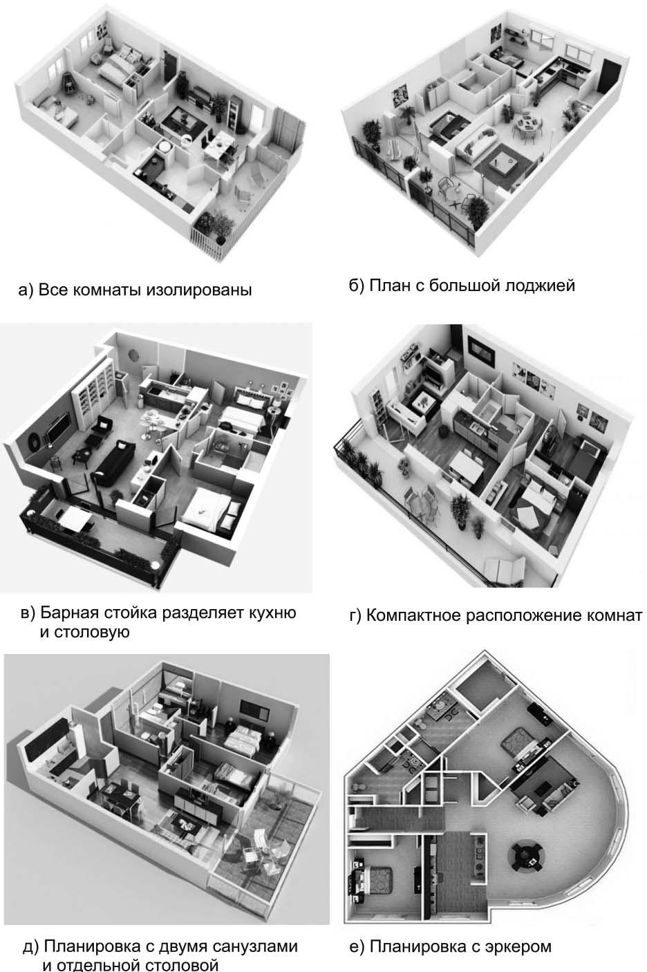 Примеры планировочных решений 3-комнатных квартир