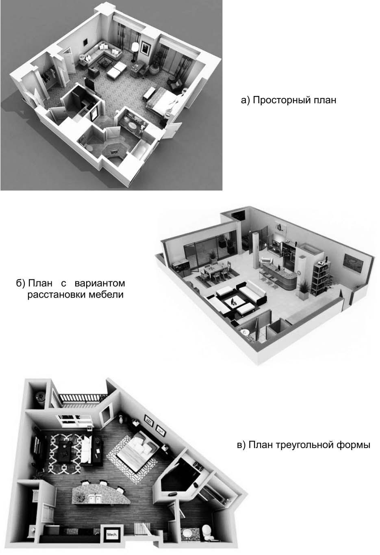 Примеры планировочных решений большой квартиры-студии